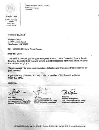 Letter of Commendation from Utah Department of Public Safety